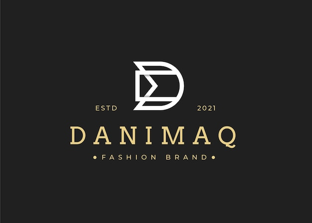 Modello minimalista di progettazione del logo della lettera dm iniziale, illustrazioni vettoriali