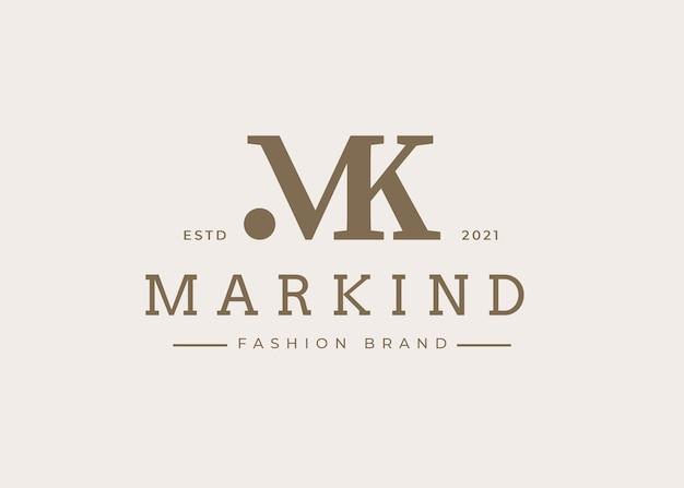 Modello minimalista di progettazione del logo della lettera mk iniziale, illustrazioni vettoriali