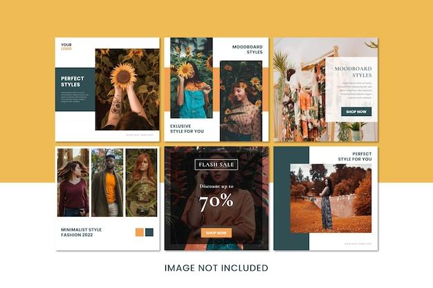 Collezione minimalista di promozione post instagram per le aziende di moda