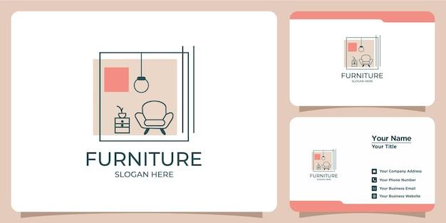 Logo interno minimalista con design del logo in stile line art e modello di biglietto da visita
