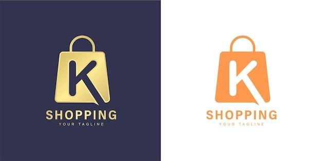 Marchio della lettera k minimalista con lo shopping e il concetto di negozio online