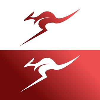 Modello di logo di design minimalista a canguro