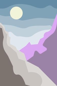 Paesaggio minimalista in scena in stile boho con carta da parati per biglietti d'invito con stampa di design di montagna