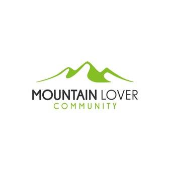 Design minimalista del logo vettoriale delle colline del paesaggio delle colline dei picchi di montagna