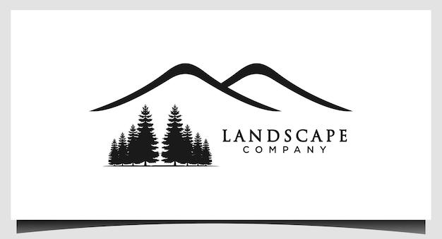 Paesaggio minimalista colline picchi di montagna con pino vector logo design