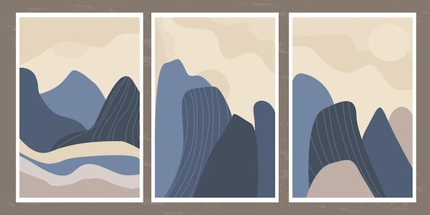 Paesaggio minimalista di montagne e rocce con linee astratte in uno stile semplice