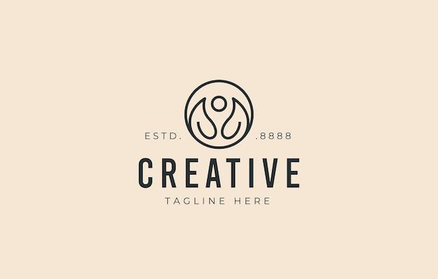 Design minimalista del logo della meditazione fogliare foglia di natura vettoriale che assomiglia a una persona di meditazione