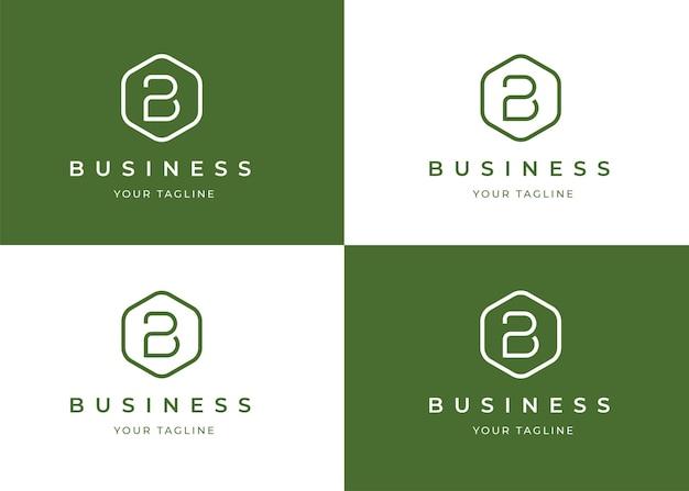Modello di progettazione del logo minimalista lettera b con forma geometrica