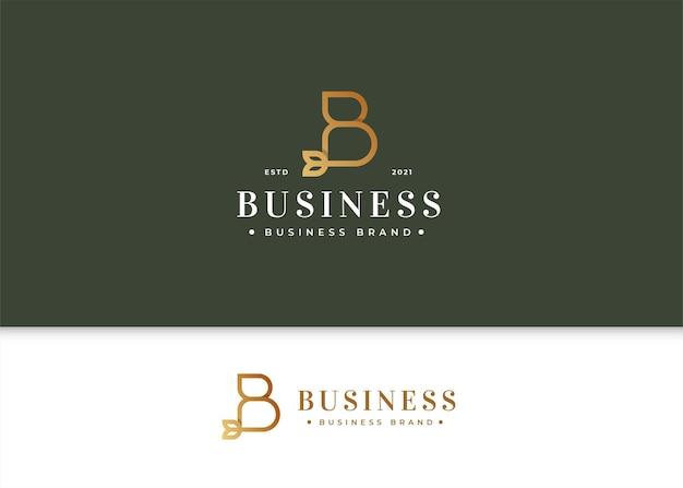 Modello di design del logo di lusso minimalista con lettera b