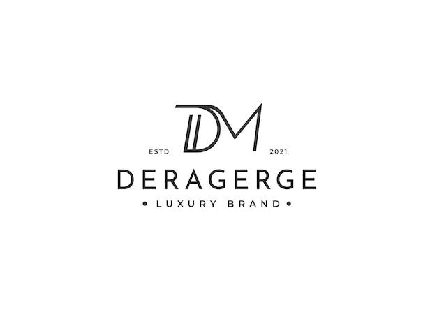 Design del logo minimalista con lettera dm per marchio personale o azienda