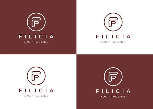 Modello di progettazione di logo minimalista lettera f con forma del cerchio
