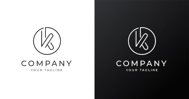 Modello di progettazione del logo minimalista lettera k con stile a forma di cerchio