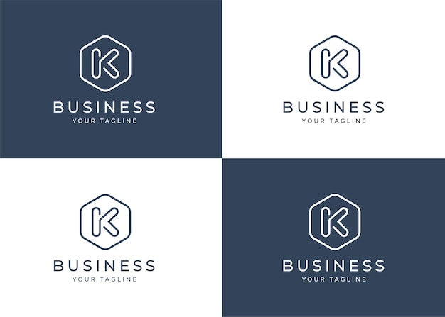 Modello di progettazione di logo minimalista lettera k con forma geometrica