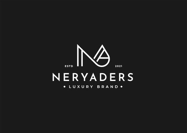 Modello di progettazione del logo lettera na minimalista