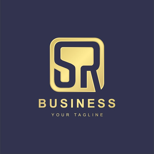 Design minimalista del modello di logo di lettera sr