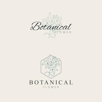 Disegno a mano minimalista giglio fiore logo design