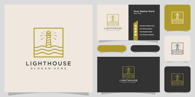 Design del logo del faro astratto di linea minimalista