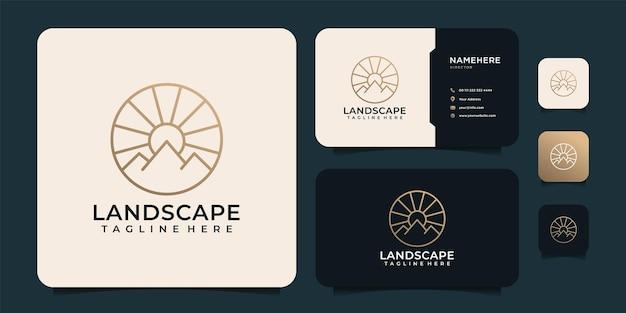Montagna astratta di linea minimalista con design del logo della luce del sole