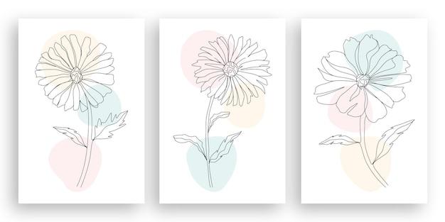 Illustrazione minimalista del fiore di arte di linea con l'insieme astratto di progettazione delle foglie