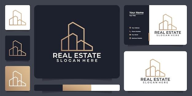Logo di ipoteca della torre immobiliare di linea minimalista con stile di arte di linea
