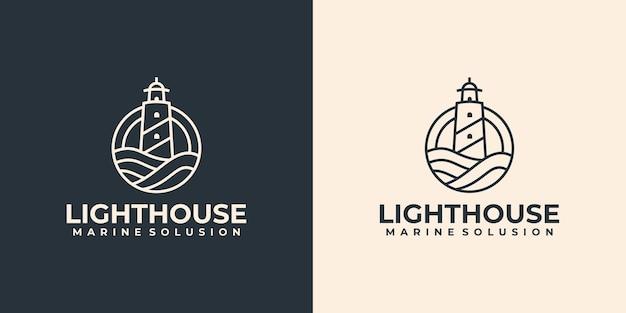 Idea di design del logo del faro lineare minimalista