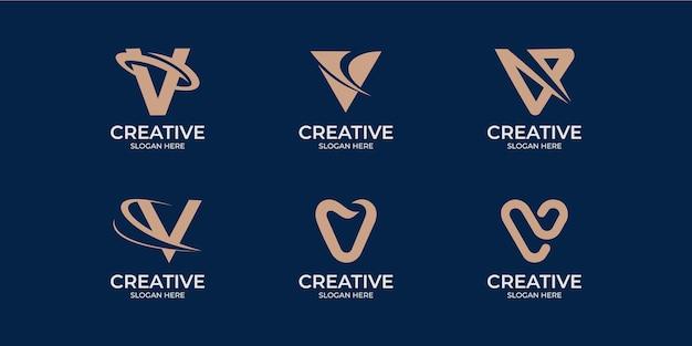 Set di logo lettera v in stile lineare minimalista