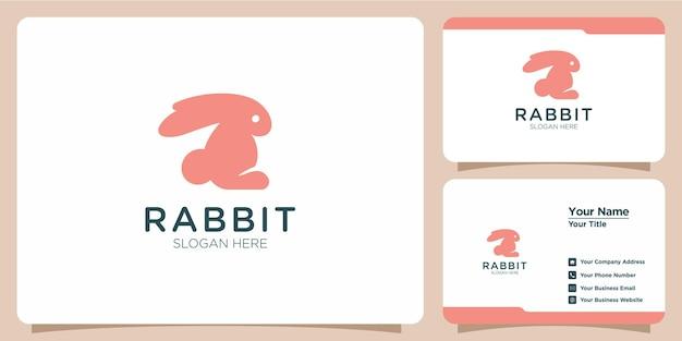 Logo e biglietto da visita di coniglio in stile lineare minimalista