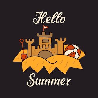 Modello di design della maglietta vettoriale in stile lineare minimalista con antico castello e scritta hello summer su sfondo nero