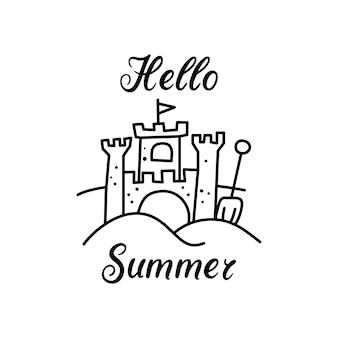 Modello di design della maglietta vettoriale in stile lineare minimalista con antico castello e scritta hello summer