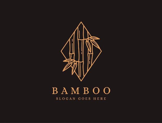 Icona di logo dell'albero di bambù minimalista lineart su priorità bassa nera