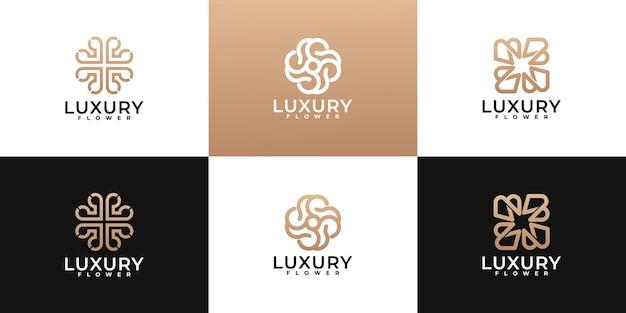 Collezione di design con logo floreale minimalista di lusso