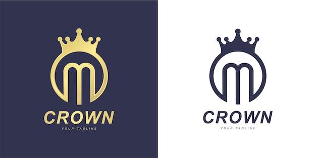 Marchio della lettera m minimalista con il concetto di re o regno