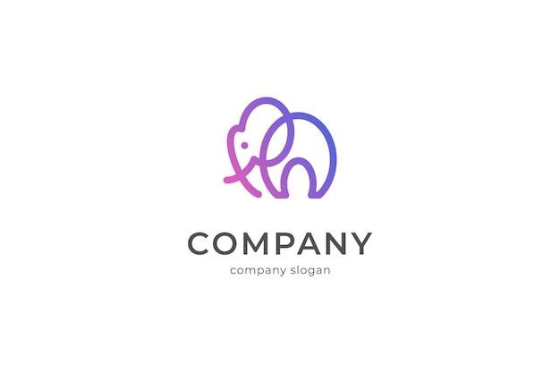Illlustration dell'icona di vettore del modello di logo dell'elefante moderno minimalista