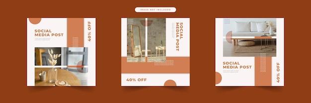 Collezione di modelli di post sui social media mobili moderni minimalisti