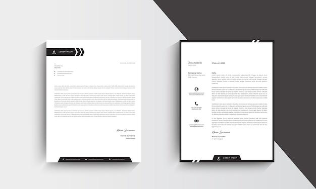 Design del modello di carta intestata moderno minimalista. vettore