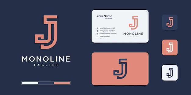 Modello minimalista di progettazione del logo della lettera j del monogramma.