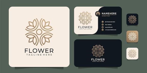Design minimalista del logo floreale della natura del fiore di lusso del monogramma minimalista