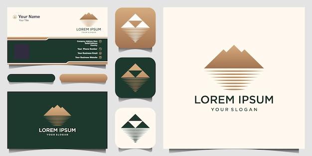 Logo minimalista di montagna e oceano