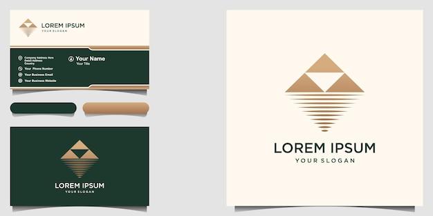 Logo minimalista di montagna e mare