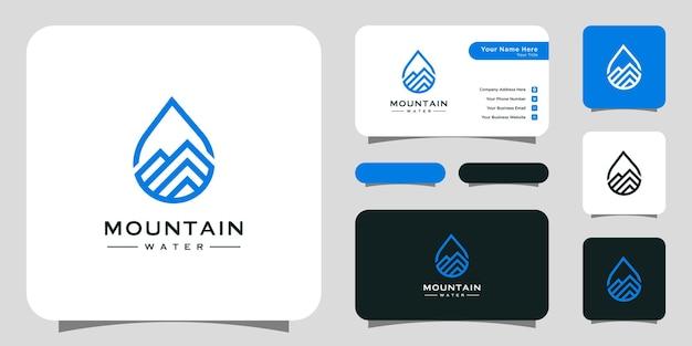 Montagna minimalista con logo a goccia d'acqua. biglietto da visita modello di lusso