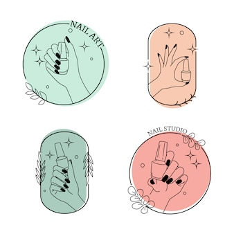 Segno di studio di arte del chiodo minimalista. design moderno del logo mono linea. insieme di modelli di simboli alla moda