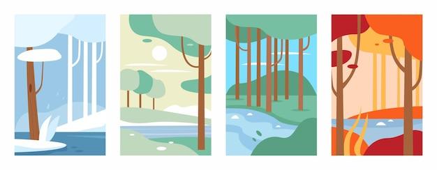 Illustrazione minimalista del paesaggio della foresta della natura impostata durante l'anno