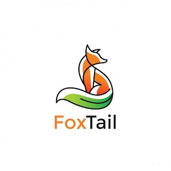 Design minimalista di volpe verde natura logo