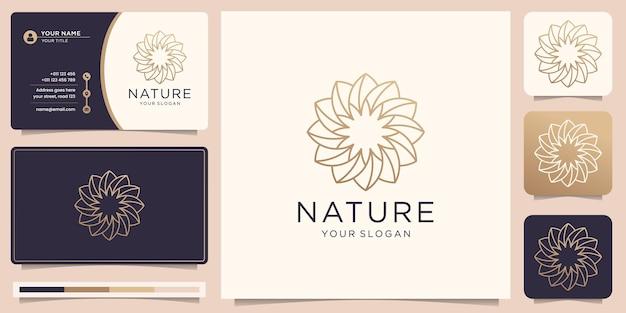 Design minimalista del logo della natura in linea arte e biglietto da visita