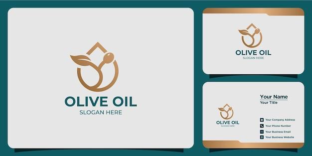 Logo e biglietto da visita minimalista dell'olio d'oliva