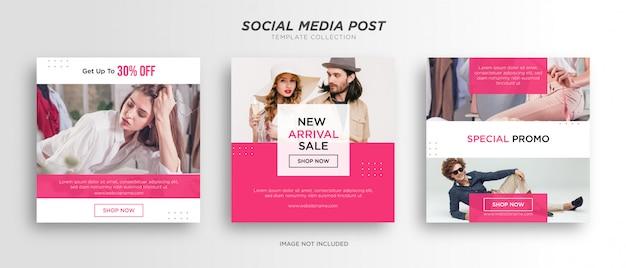 Modello di post social media bianco rosa minimalista