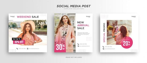 Rosa minimalista con modello di post sui social media bianco