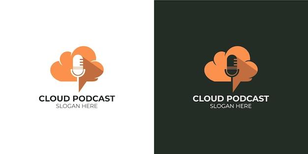 Insieme minimalista del logo della nuvola del podcast
