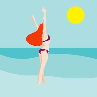 Ritratto minimalista di donna in spiaggia. bandiera estiva. scena della spiaggia