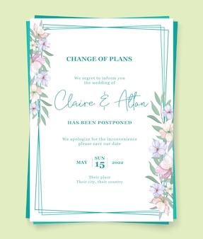 Concetto di carta di nozze posticipato minimalista
